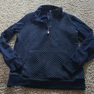 LL Bean inspo quilted navy pullover sweatshirt